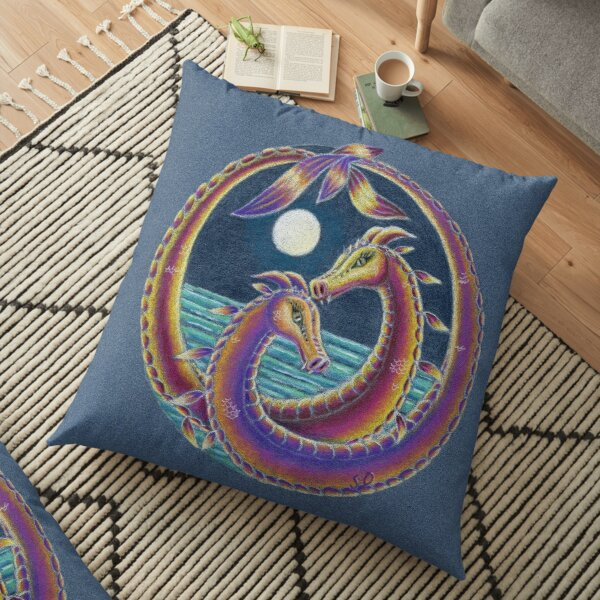 Dragon Lovers (Together at Spring Tide) Floor Pillow