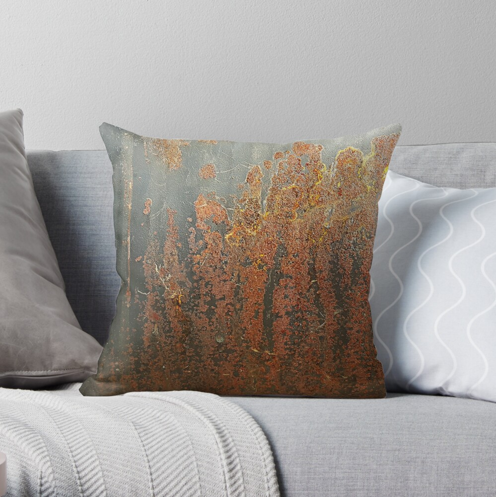 Dark Grey Rust Throw Pillow