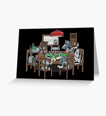Robot Dogs Playing Poker Greeting Card