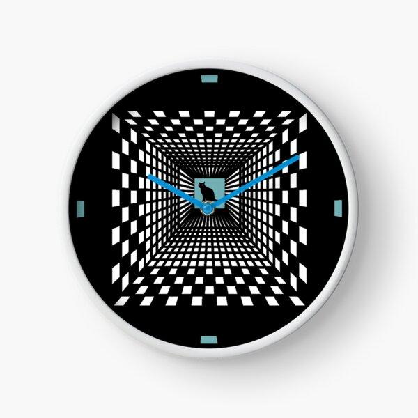 Cat in blue square Clock