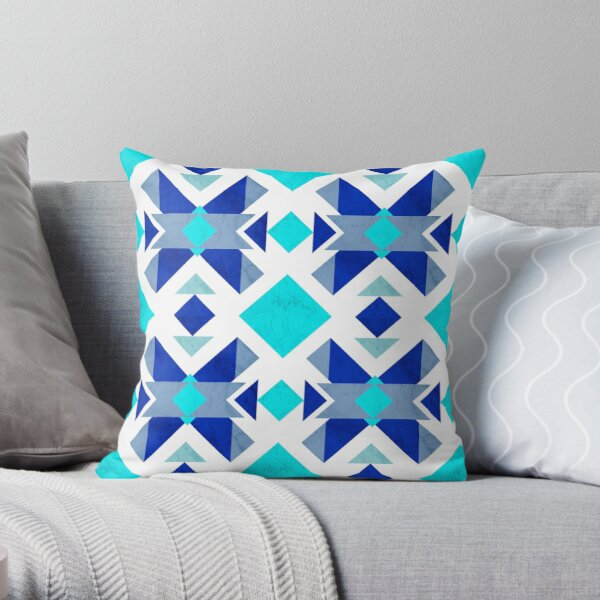 Blue geometry with marble Throw Pillow
