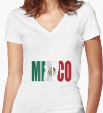 Mexican flag overlay  Women's Fitted V-Neck T-Shirt