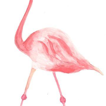 Flamingo pattern - watercolors  by sylvianik