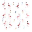 Flamingo and icecream pattern - watercolor  by sylvianik