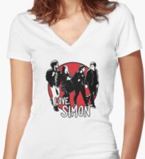 Love, Simon Friend Group Walking Women's Fitted V-Neck T-Shirt