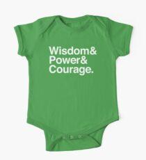 Wisdom & Power & Courage. One Piece - Short Sleeve