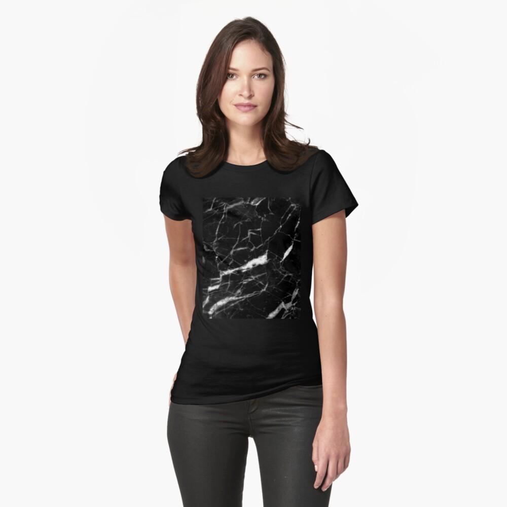abstrakter moderner schicker minimalistischer grauer schwarzer Marmor Tailliertes T-Shirt