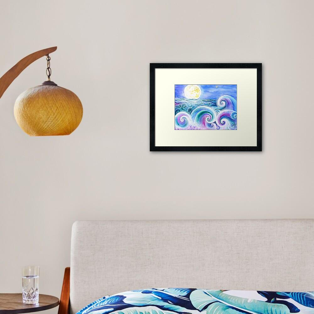 Fibonacci's Wave, Ocean Art. Framed Art Print
