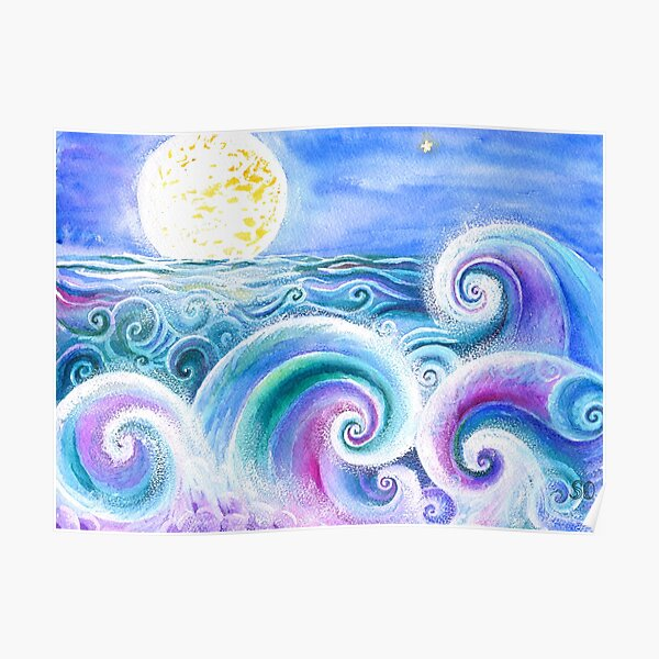Fibonacci's Wave, Ocean Art. Poster