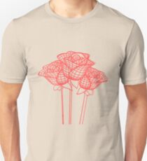 Stylized Mesh Effect Red Roses Unisex T-Shirt