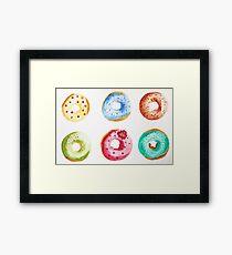 Donuts watercolor illustration  Framed Print