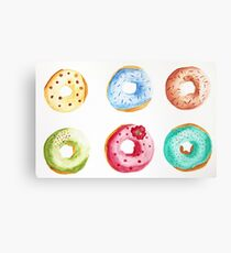 Donuts watercolor illustration  Metal Print