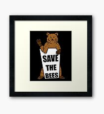 Save The Bees Grizzly Bear Framed Print