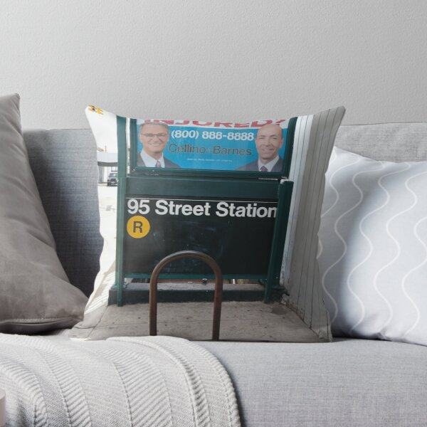 Happiness, Building, Skyscraper, New York, Manhattan, Street, Pedestrians, Cars, Towers, morning, trees, subway, station, Spring, flowers, Brooklyn Throw Pillow