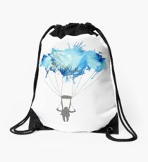 Skydiving, Skydiver parachute, parachuting. Watercolor Illustration Drawstring Bag