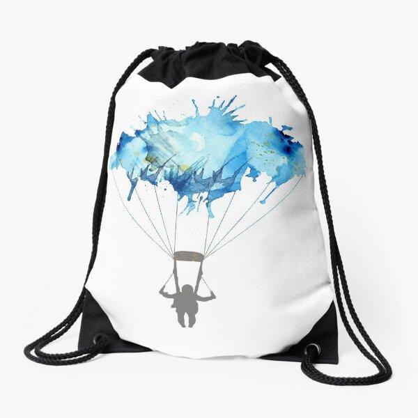 Skydiving, Skydiver parachute, parachuting. Watercolor Illustration Drawstring Bag