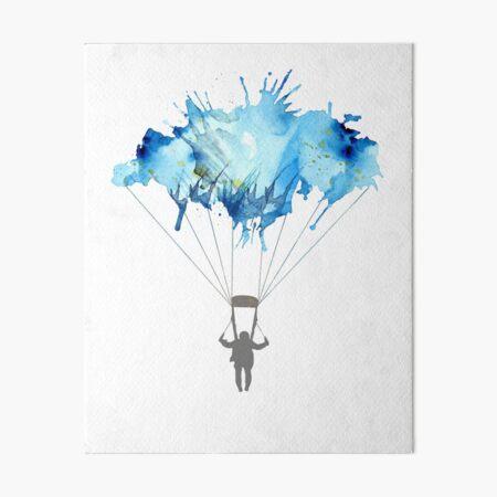 Skydiving, Skydiver parachute, parachuting. Watercolor Illustration Art Board Print