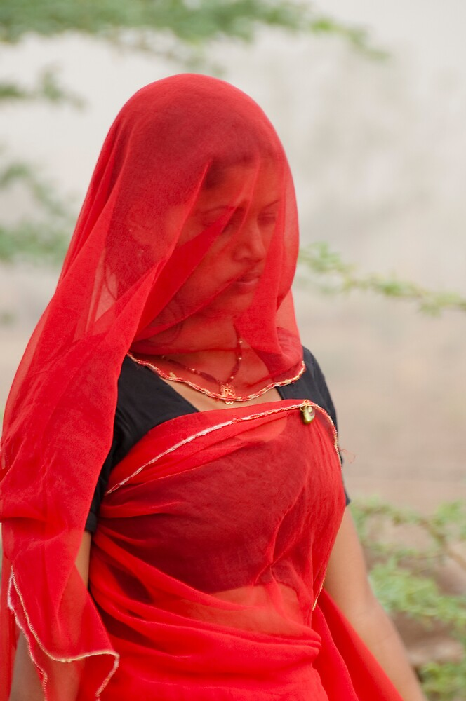 The Beauty in Red Veil. by Mukesh Srivastava