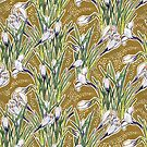 Blooming Crocuses, Botanical Floral Pattern, Olive Green White  by clipsocallipso
