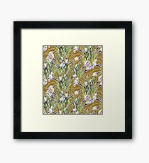 Crocuses, floral pattern in green, olive and white  Framed Print
