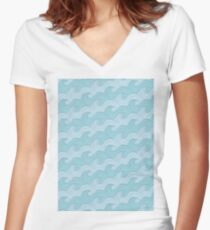 Blue Sea Waves Women's Fitted V-Neck T-Shirt