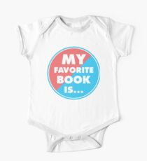 My favorite book is..., circle, colors blue pink One Piece - Short Sleeve