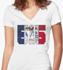 ALWAYS REPPIN' THE 515 Women's Fitted V-Neck T-Shirt