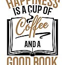 Savvy Turtle Reading Design for Women Happiness Is Coffee and Good Book by SavvyTurtle