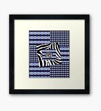 Zebra blau Gerahmtes Wandbild