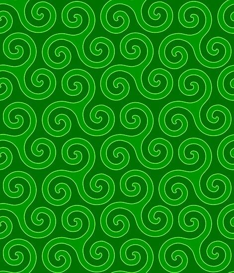 Celtic Trinity Spirals In Greens