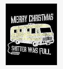 Merry Christmas Shitter Was Full Black Vintage  Photographic Print