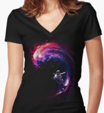Space Surfing II Women's Fitted V-Neck T-Shirt