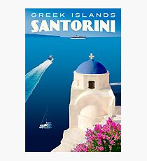 Vintage Santorini Travel Poster Photographic Print