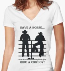 Save A Horse Women's Fitted V-Neck T-Shirt