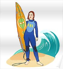 X files surfer Scully Alien by Mimie Poster