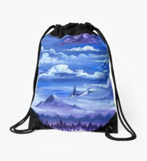 """Cotton Skies"" - Acrylic Painting Drawstring Bag"