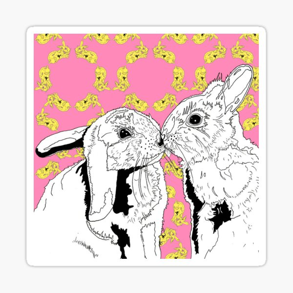 Compassionate Animals - Kissing Rabbits - Vegan Sticker