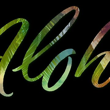 Aloha Tropical Flowers and Leaves Lettering  - Hawaii Hawaiian Calligraphy by 26-Characters