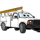Utility Pick Up White Truck Cartoon by Graphxpro