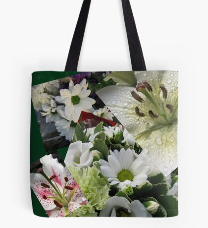 Weiße Freude - Floral Collage Tote Bag