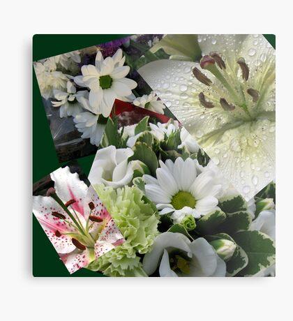 Weiße Freude - Floral Collage Metallbild