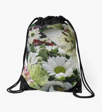 Weiße Freude - Floral Collage Turnbeutel