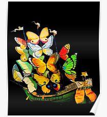 Dali: Vintage Schmetterlingsschiff auf schwarzem Kunstdruck Poster
