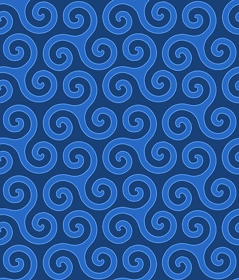 Celtic Trinity Spirals In Sky Blues