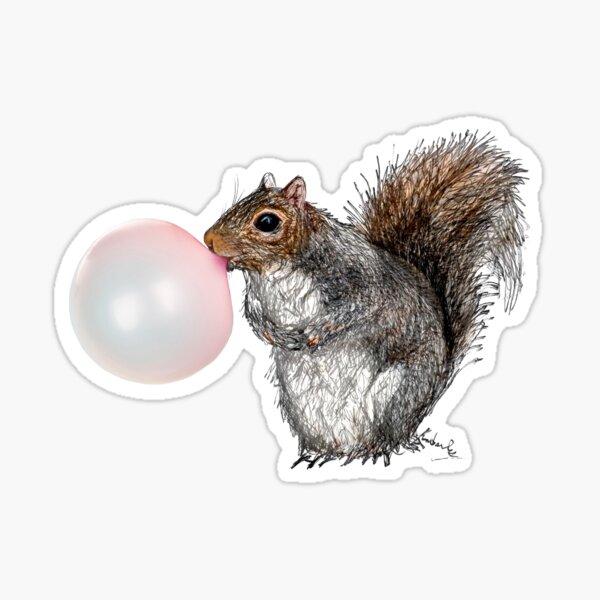 BubbleGum Bubble Squirrel Greeting Card Sticker