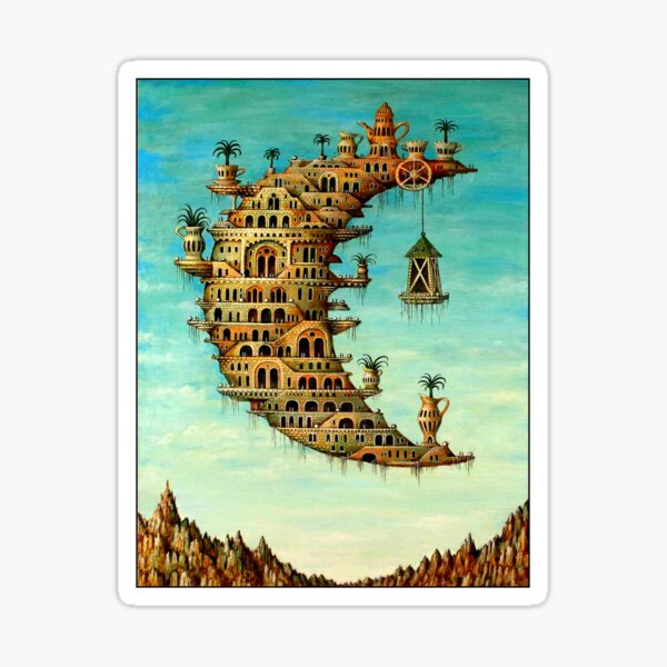 DALI : Vintage Living on the Moon Abstract Painting Print Sticker