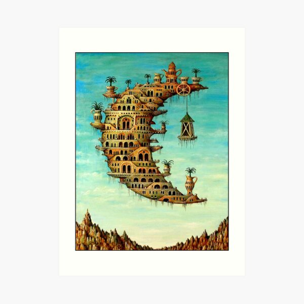 DALI : Vintage Living on the Moon Abstract Painting Print Art Print