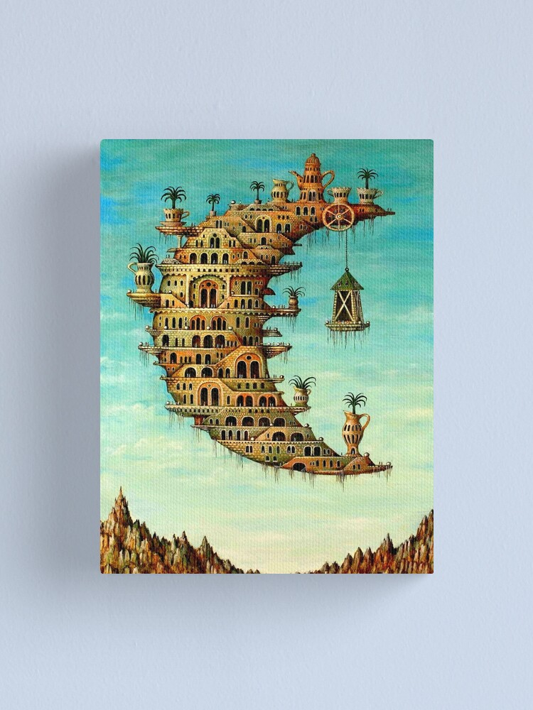 Alternate view of DALI : Vintage Living on the Moon Abstract Painting Print Canvas Print