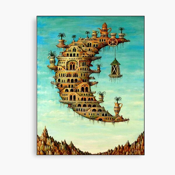 DALI : Vintage Living on the Moon Abstract Painting Print Canvas Print