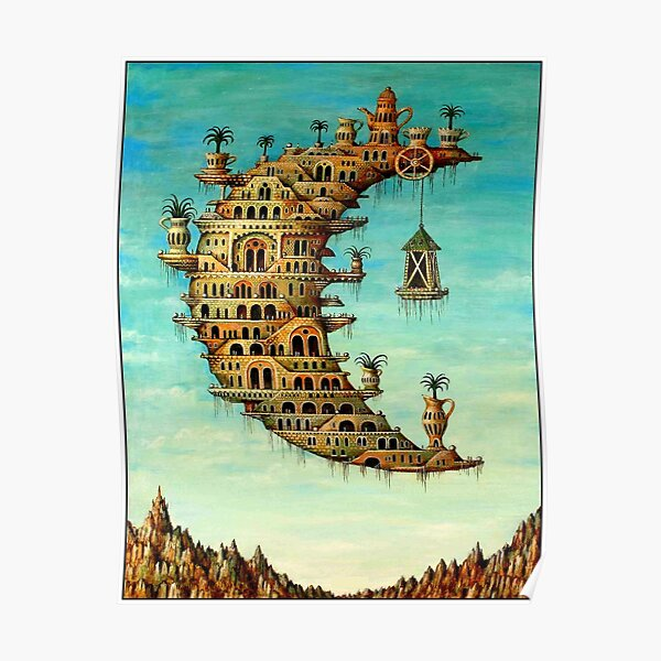 DALI : Vintage Living on the Moon Abstract Painting Print Poster